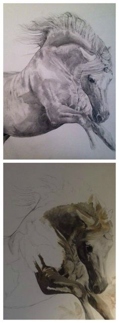 How to paint horses from sketch to signature with Tony O'Connor (Parts 1 & 2) Prints of finished painting found here: http://white-tree-studio-online-store.myshopify.com/products/ponent-rising-1
