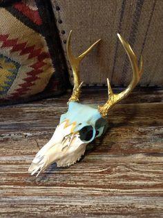 Shabby Chic Chevron Deer Skull by WestWalnut on Etsy, $155.00