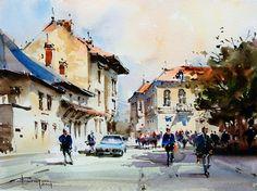Corneliu Dragan-Targoviste | urban landscape watercolour-43