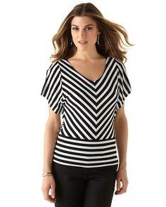 Split Sleeve Striped Knit Top - White House | Black Market