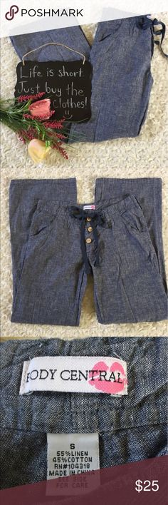 "Body Central bluish gray linen blend pants Cute linen blend pants by Body Central!! Size S. 15"" waist. 28.5"" inseam. Body Central Pants Wide Leg"