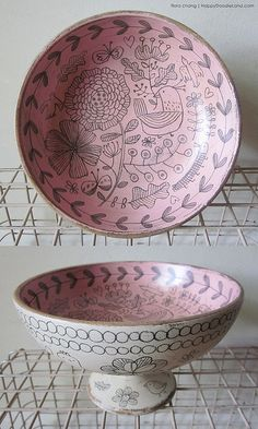 wooden doodle bowl, flora chang | Happy Doodle Land
