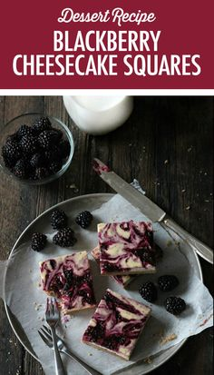 Decadent Blackberry Cheesecake Squares are an easy dessert that captures the last flavours of summer in a delicious square. Blackberry Cheesecake, Blackberry Recipes, Fruit Recipes, Cheesecake Squares, Cheesecake Bites, Cheesecake Recipes, Cupcake Cakes, Cupcakes, Dessert Tray