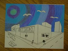 Fifth graders are building their knowledge of perspective drawing - they learned how to use a single vanishing point in 4th grade, and are now challenged to design a building using 2 vanishing points. I have seen many nice cityscapes online that use the concentric circle technique for the sky,soI thought we'd give that a try this year - it was a niceaddition tothe very technical drawing. We began with a simple horizon line and added vanishing points at each end. Much erasing is done…