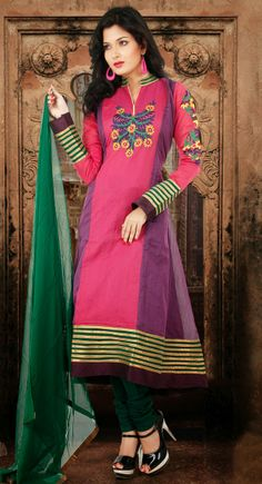 Modest Orchid And Pink Chanderi Cotton Silk Readymade Anarkali Salwar Suits