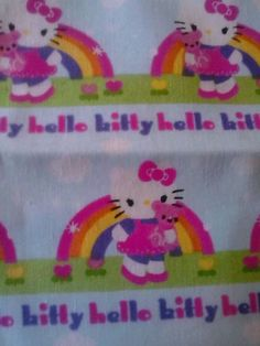 last minute deals---bidding ends soon!!!!!! Hello kitty and rainbows fabric on light blue background