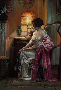 'Le boudoir' - Max Carlier, 1920, Belgian artist
