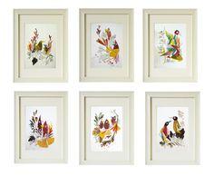 set of 6 prints flower print wall art set of 6 bird print fine art flower art print nursery set wall art set dry flower art print set