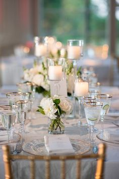 photographer: Robert and Kathleen Photography; Wedding reception centerpiece idea;