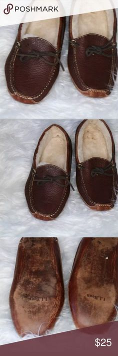 LL Bean SlipperLeather Sole Driving Moccasin Camp LL-Bean-Mens-Slipper-Bison-Double-Layer-Leather-Sole-Driving-Moccasin-Camp-Sz-10  •Has scuffs throughout each slipper •Has some wear on the slippers •Sole of the boots have some wear •Faux fur has some tinting in each slipper •Odor Free •Smoke Free Household •All wear is shown in the pictures  Size 10  Thank you for stopping by my Poshmark store.   Lots of Love & Luck, Allison Vota L.L. Bean Shoes Loafers & Slip-Ons
