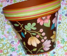 Hand Painted Flower Pot 8 Inch Chocolate Floral by ThePaintedPine Flower Pot Art, Clay Flower Pots, Flower Pot Crafts, Painted Clay Pots, Painted Flower Pots, Hand Painted Ceramics, Clay Pot Projects, Clay Pot Crafts, Paint Garden Pots