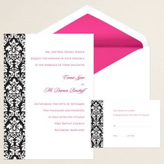 Damask Block Wedding Invitation (available in other colors) | #exclusivelyweddings | #blackandwhitewedding