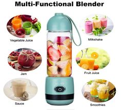 Portable Glass Blender, Lau Tier USB Rechargeable Personal Blender Juicer Cup, Multifunctional Travel Blender with High Speed mAh Rechargeable Battery Travel Blender, Glass Blender, Portable Blender, Specialty Appliances, High Speed, Multifunctional, Usb