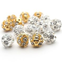 30pcs/lot 6mm/8mm/10mm Gold/Silver Round Pave Disco Ball Beads Rhinestone Crystal Spacer Beads for DIY Jewelry Findings F2419 Rated 4.9/5 based on 1016 customer reviews 4.9 (1016 votes) 750 orders Price: US $4.03 / lot (30 pieces / lot , US $ 0.12 / piece ) Discount Price: US $3.47