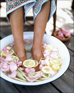 rose petal + lemon foot soak // #heaven