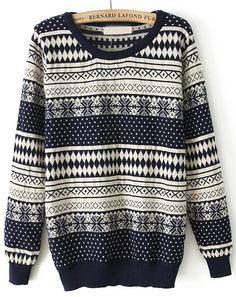 Navy Long Sleeve Snowflake Polka Dot Sweater - Sheinside.com