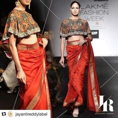 Khushboo k #Repost @jayantireddylabel (via @repostapp)  Unveiling our looks from the @lakmefashionwk Spring/Summer '16 showcase. . . . #JayantiReddy | #LFW2016  Antique printed poncho cape top with gold #toabhmodel #teamtoabh #modelintown#bookingsopen#a royal blood red sari.  #jayantireddylabel#ClientDiaries #WeddingCollection #Hyderabad #Designer#jayantireddyonline #lfw2016  To shop this look mail at jayantireddyofficial@gmail.com