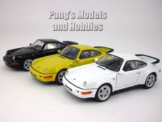 The Porsche 911 / 964 by Welly measures about 4.55 inches long by about 1.75 inches wide by about 1.75 inches high. It has very nice details such as separate clear plastic headlights and taillights. T