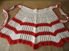 Vintage Crocheted Apron in Off White and Red via Etsy