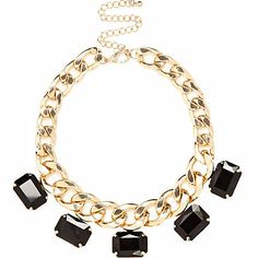 Black gem stone chunky curb chain necklace £10.00
