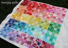 Rainbow patchwork blocks   Flickr - traceyjay Love it so much! I know it's turning into something more, but I love how this looks.