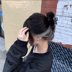 Hair Color Streaks, Hair Dye Colors, Hair Highlights, Underdye Hair, Dye My Hair, Hidden Hair Color, Hair Color For Black Hair, Dark Hair, Under Hair Dye