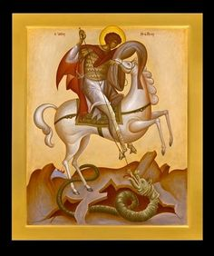 St George the Great Martyr - astride / Giorgos Kordis Paintings. Religious Images, Religious Icons, Religious Art, Byzantine Icons, Byzantine Art, Saint George And The Dragon, Religious Paintings, Art Icon, Orthodox Icons