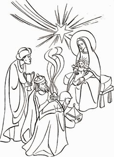 Feast Of The Epiphany Coloring Page Adoration Magi To Colour L Epiphanie Des Mages