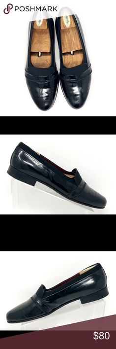 7bcbb9645ca70 Bally Banner Black Patent Leather Tuxedo Loafers