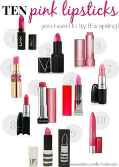 Top Ten {Pink} Lipsticks for spring!