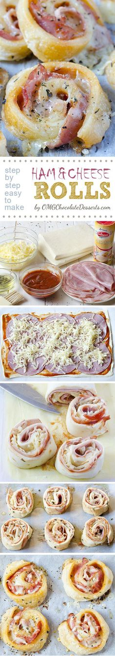 Ham and Cheese Rolls are soft and gooey, pizza-style rolls - the perfect party snack. These ham rolls are the best appetizer or after-school snack recipe! Finger Food Appetizers, Appetizers For Party, Appetizer Recipes, Snack Recipes, Cooking Recipes, Appetizer Ideas, Party Recipes, Tapas, Snacks Für Party