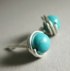 Turquoise Stud Earrings Birthstone Earrings 6mm Sterling Silver Wire Wrapped Birthstone Jewelry -- Simply Studs