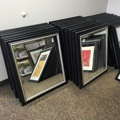"""Regularly $50 these will be on sale for $30 on 3/14/16! Beveled glass silver/black wood backed frame. 30"""" x 33"""" - http://ift.tt/1HQJd81"""