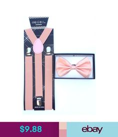 New Dusty Rose Peach Pink Suspender Bowtie Tuxedo Matching Collar Band Bow Tie Pink Suspenders, Pink Tuxedo, Tie Matching, Tuxedo Wedding, Neckties, Dusty Rose, Ebay Clothing, Blush, Rouge