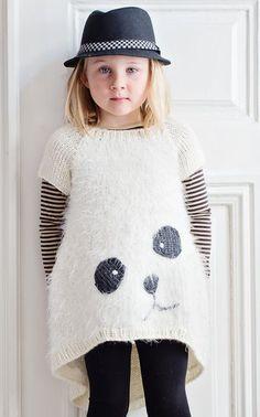 knitted panda sweater // knitting pattern in Finnish via Novita LTDv Knitting For Kids, Crochet For Kids, Knitting Projects, Baby Knitting, Knit Crochet, Fashion Kids, Baby Patterns, Knitting Patterns, Pull Jacquard