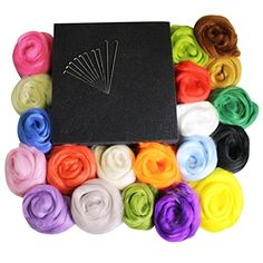 Generic Wool Fibre Roving for Needle Felting Hand Spinning DIY Fun Doll Needlework Raw Wool Baize Poke Fun 5g//bag 36pcs Mix Colors