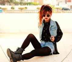 Get this look (blouse, vest, shorts, boots, sunglasses) http://kalei.do/WTF8PQI9JeQqsgmj