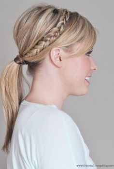 Top off this braided hairstyle with a traditional ponytail!