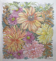 連休中ゆっくりと塗り絵が出来ました水彩は色鉛筆より時間がかからなくて良いです #世界一美しい花のぬり絵book #leiladuly #floribunda…