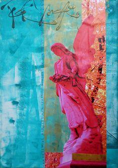 +++ Erzengel Raphael ist der Engel der Heilung, wie sein Name »Gott heilt« belegt. Er unterstützt Menschen, die sich berufen fühlen Gesundheit und Wohlbefinden zu verbreiten. Außerdem hilft Raphael Reisenden und kann für eine sichere und harmonische Reise sorgen. Raphaels Farbe ist leuchtendes Smaragdgrün. +++ Seine Botschaft: »Springe beherzt in den Fluss des Lebens!« +++ »all about angels« Erzengel Raphael | 70 x 100 cm | Foto/Stempel/Acryl auf Leinwand | © Stefanie Marquetant 2013