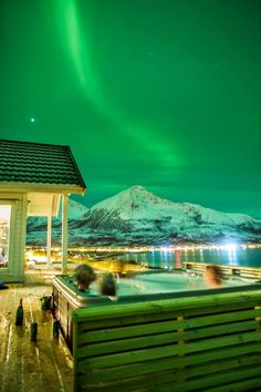Aurora from a hot tub - Tromvik Lodge, 40 min drive from Tromso on the northern coast of Norway Oh The Places You'll Go, Places To Travel, Places To Visit, Tromso, Lofoten, Aurora Borealis, Beautiful World, Beautiful Places, Beautiful Moments