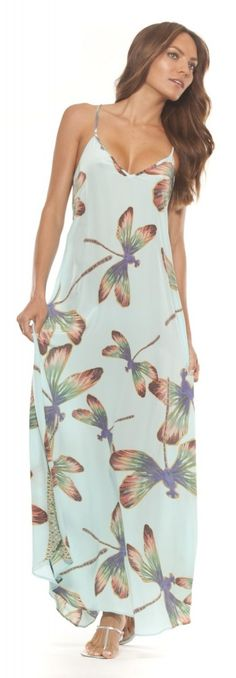 Ramona Larue Women's Tara Dress In Aqua Dragonfly: Clothing