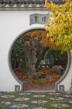 Moon Gate at Lan Su Classical Chinese Garden, Portland Oregon