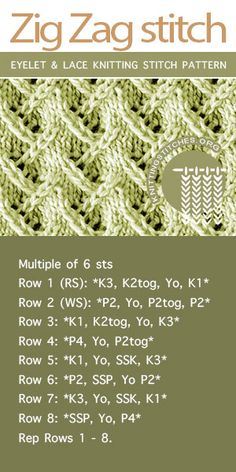Crochet Stitches Patterns Knitting instructions for Zig Zag stitch pattern - Zig Zag Lace Knitting. The lace pattern is extremely simple to memorize and do! Lace Knitting Stitches, Baby Cardigan Knitting Pattern, Lace Knitting Patterns, Knitting Charts, Easy Knitting, Zig Zag, Knits, Crocheting, Sewing
