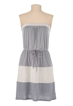 Stripe and Lace Print Tube Dress available at #Maurices