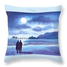 Watercolour Print :: Stroll in The Moonlight, Mumbles, Swansea, South Wales, UK Sold Unframed .Size including cream mount ready to fit size x 11 ins frame Will make a great gift for any occasion. Or why not treat yourself for some new artwork! Swansea Bay, Swansea Wales, Watercolor Landscape, Watercolor Print, Watercolor Cards, Landscape Paintings, Beautiful Paintings, Beautiful Landscapes, Amazing Artwork