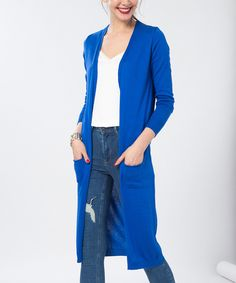 Take a look at this French Town Royal Blue Front-Pocket Open Duster today!