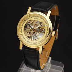 Winner Classic Ultra Thin Gold Case - Leather Strap Watch - Skeleton Face