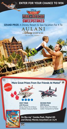 Need to get away? Enter Disney's Planes: Fire & Rescue Sweepstakes for a chance to win a Hawaiian vacation for 4 to Aulani, a Disney Disney Resort & Spa in Ko Olina. Click the image for details.