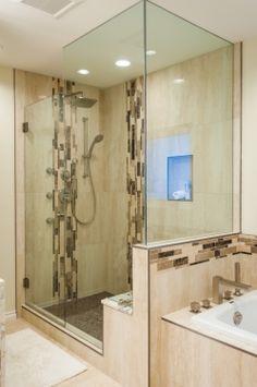 Glass Accent Tile Shower Designs Vertical Tile Design